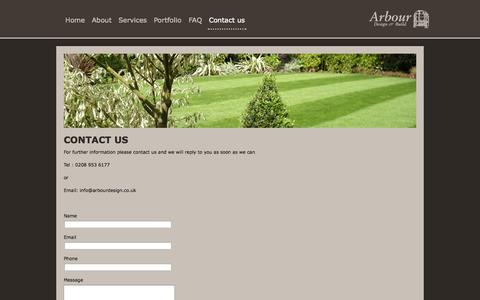 Screenshot of Contact Page arbourdesign.co.uk - garden design and maintenance hertfordshire watford london | Arbour Design and Build - captured Oct. 4, 2014