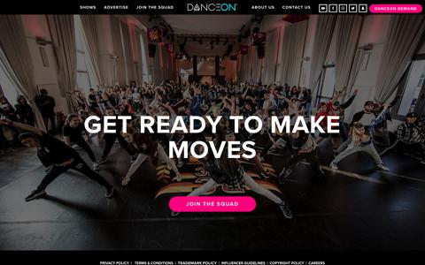 Screenshot of Signup Page danceon.com - JOIN THE SQUAD — DanceOn - captured Aug. 5, 2018