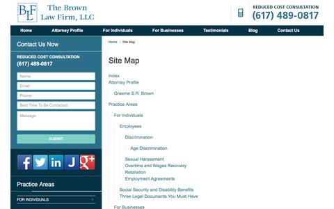 Screenshot of Site Map Page brownlegalservices.com - Site Map :: Middlesex County Employment Attorney Brown Law Firm - captured Oct. 22, 2017