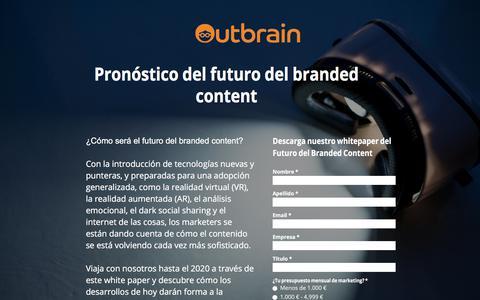 Screenshot of Landing Page outbrain.com - ¿Cómo será el futuro del branded content? - captured April 8, 2018