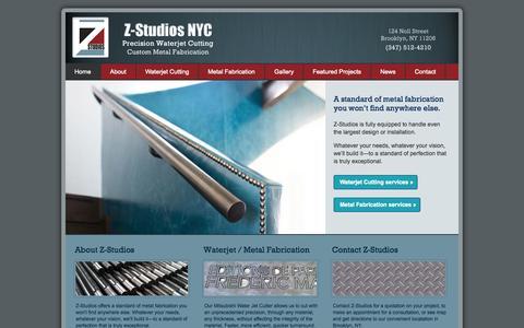 Screenshot of Home Page zstudiosnyc.com - Z-Studios   Waterjet Cutting in NYC   Custom Metal Fabrication   124 Noll St., Brooklyn, New York 11206 - captured Oct. 6, 2014