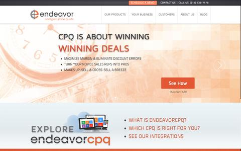 Screenshot of Home Page Menu Page endeavorcpq.com - EndeavorCPQ | CPQ | Configure Price Quote | Guided Selling - captured Sept. 16, 2014