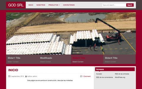 Screenshot of Home Page godsrl.com - GOD SRL | PROVISION DE EQUIPOS E INSUMOS INDUSTRIALES Y PETROLEROS - captured Sept. 26, 2014