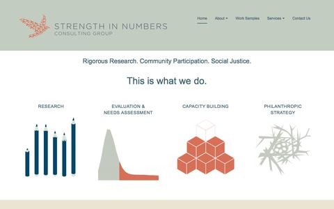 Screenshot of Home Page strengthinnumbersconsulting.com - Strength in Numbers - captured Nov. 9, 2017