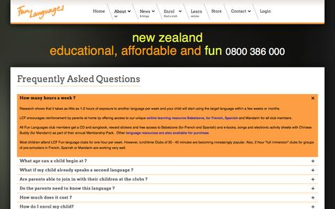Screenshot of FAQ Page lcfclubs.co.nz - Fun Languages - New Zealand - FAQs - captured Nov. 1, 2014