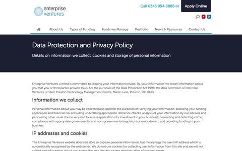 Screenshot of Privacy Page evgroup.uk.com - Privacy | Enterprise Ventures - captured Oct. 18, 2016
