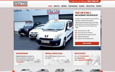 Screenshot of Home Page unitownhire.co.uk - Replacement Taxis Private Hire Vehicles After Accidents – Unitown - captured Oct. 9, 2014