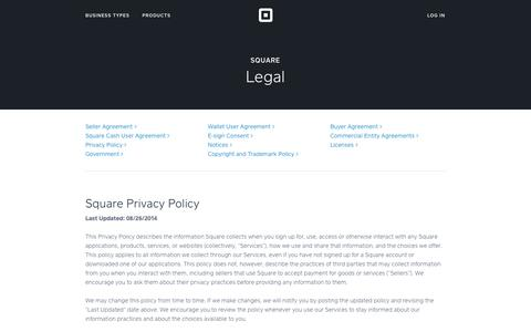 Screenshot of Privacy Page squareup.com - Square Privacy Policy - captured Oct. 10, 2014