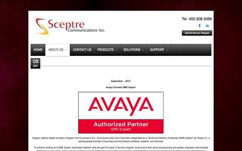 Screenshot of Press Page sceptreinc.ca - News - captured Oct. 4, 2014