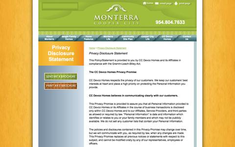 Screenshot of Privacy Page monterrafl.com - Privacy Disclosure Statement - captured Oct. 1, 2014