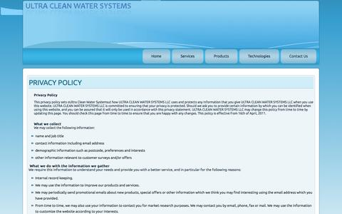 Screenshot of Privacy Page ultracleanwatersystems.com - Privacy Policy - captured Sept. 30, 2014