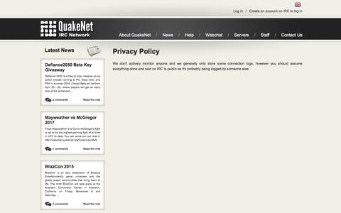Screenshot of Privacy Page quakenet.org - QuakeNet IRC Network - Privacy Policy - captured July 18, 2018