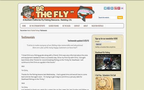 Screenshot of Testimonials Page bethefly.com - Guided Fly Fishing Testimonials - captured Oct. 2, 2014