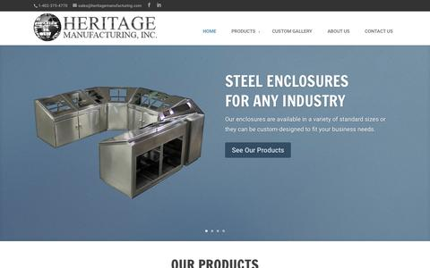 Screenshot of Home Page heritagemanufacturing.com - Heritage Manufacturing - Custom Stainless Steel and Painted Steel Enclosures, Consoles, Stainless Steel Cabinets, and NEMA Enclosures   Stainless Steel Enclosures - captured July 22, 2015