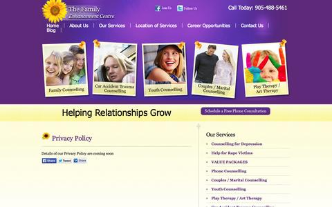 Screenshot of Privacy Page tfec.ca - Privacy Policy | The Family Enhancement Centre - captured Oct. 26, 2014