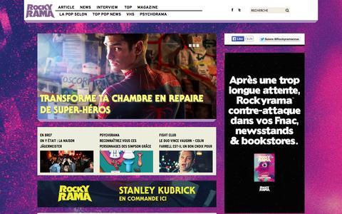 Screenshot of Home Page rockyrama.com - Rockyrama | Movies, Music & Cheesie Culture - captured Sept. 25, 2014