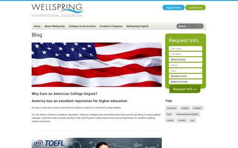 Screenshot of Blog wellspringinternational.com - Blog   Wellspring International - captured Oct. 7, 2014
