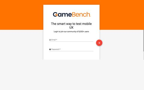 Screenshot of Signup Page gamebench.net - GameBench Web Dashboard - captured July 15, 2018