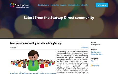 Screenshot of Blog startupdirect.org - Startup Direct - Start Up Advice Blog - captured Oct. 29, 2014