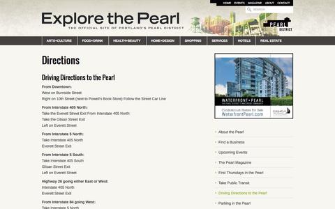 Screenshot of Maps & Directions Page explorethepearl.com - Directions | Explore The Pearl - captured Sept. 19, 2014