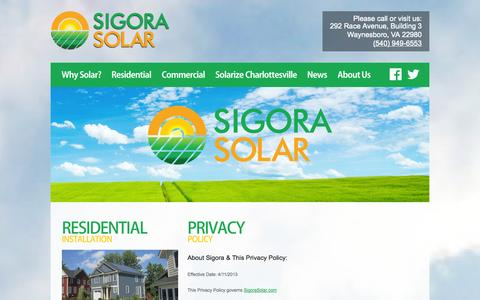 Screenshot of Privacy Page sigorasolar.com - Privacy Policy for Sigora Solar | Sigora Solar - captured Oct. 26, 2014