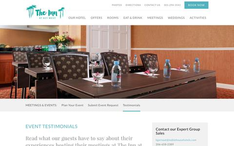 Screenshot of Testimonials Page theinnatkeywest.com - Key West Meeting Rooms | The Inn At Key West - captured Aug. 14, 2016
