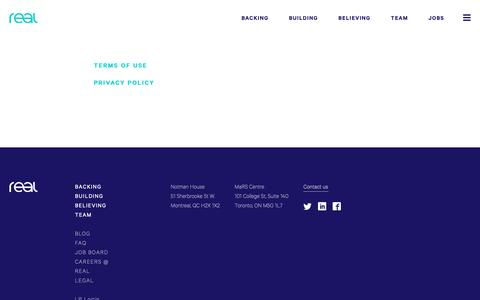 Screenshot of Terms Page realventures.com - Legal - Real - captured Oct. 18, 2018