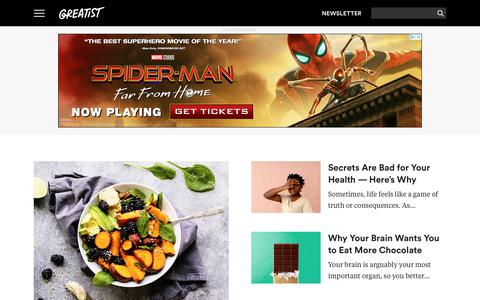 Screenshot of Home Page greatist.com - Greatist | Health and Fitness News, Tips, Recipes, and Exercises - captured July 4, 2019