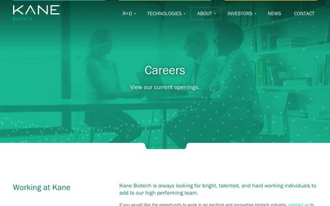 Screenshot of Jobs Page kanebiotech.com - Careers | Kane Biotech - captured Dec. 6, 2016