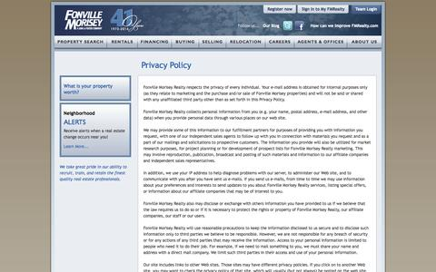 Screenshot of Privacy Page fmrealty.com - Fonville Morisey Privacy Policy - captured Sept. 25, 2014