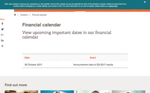 Screenshot of gsk.com - Financial calendar | GSK - captured Oct. 16, 2017
