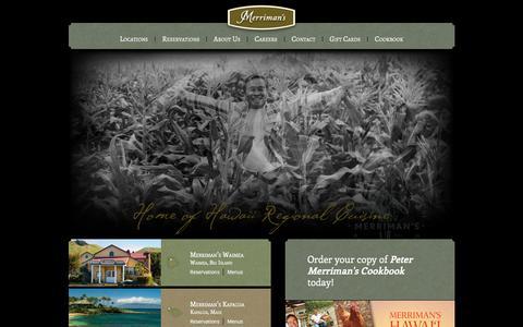 Screenshot of Home Page merrimanshawaii.com - Merriman's Hawaii Restaurant's -  Kapalua, Maui - Waimea & Waikoloa, Big Island - Poipu, Kauai - captured Jan. 10, 2016