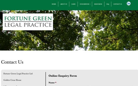 Screenshot of Contact Page fglp.co.uk - CONTACT US - Fortune Green Legal Practice - captured Oct. 10, 2018