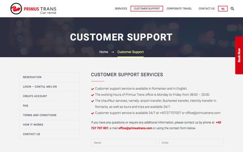 Screenshot of Support Page primustrans.com - Customer Support | Bucharest Airport Transfers | Primus Trans - captured Aug. 31, 2017