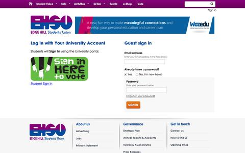 Screenshot of Login Page edgehillsu.org.uk - Login @ Edge Hill University Students' Union - captured Oct. 22, 2014