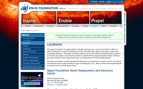 Screenshot of Locations Page spacefoundation.org - Locations | Space Foundation - captured Dec. 6, 2016