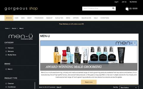 Screenshot of Menu Page gorgeousshop.com - Men-U | Male Grooming Products | Gorgeous Shop - captured Oct. 31, 2014