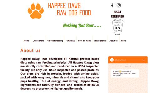 Screenshot of About Page happeedawg.com - Happee Dawg Raw Dog Food/ About Us - captured July 9, 2018