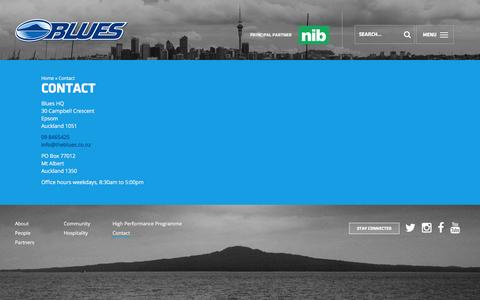 Screenshot of Contact Page theblues.co.nz captured Jan. 11, 2016