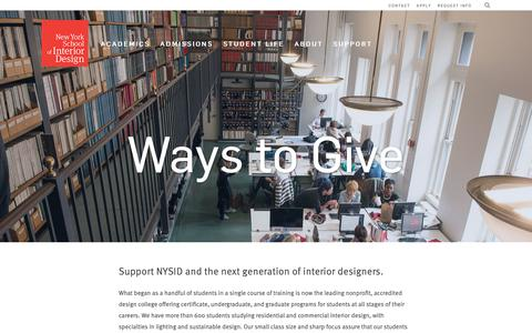 Screenshot of Support Page nysid.edu - Ways to Give — New York School of Interior Design - captured Sept. 28, 2018
