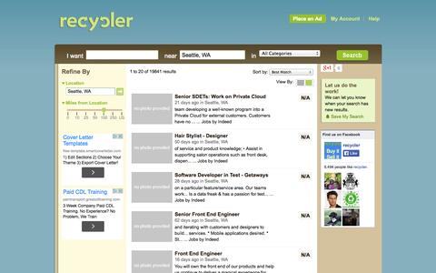 Screenshot of Support Page recycler.com - Seattle Customer Service Jobs   Seattle Job Listings - captured Sept. 18, 2014