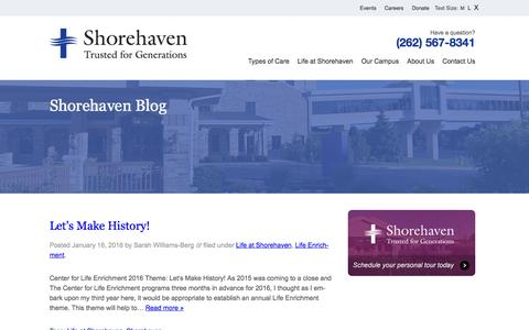 Screenshot of Blog shorehavenliving.org - Blog | Shorehaven Living - captured Feb. 14, 2016