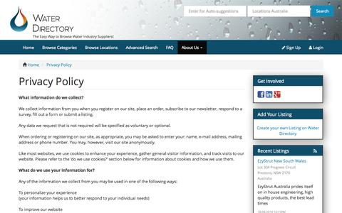 Screenshot of Privacy Page waterdirectory.com.au - Privacy Policy - captured Oct. 7, 2014