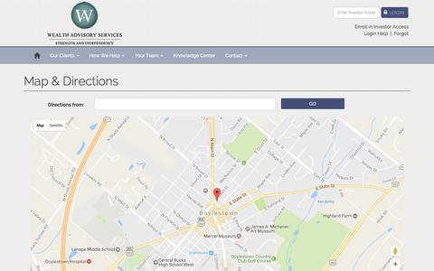 Screenshot of Maps & Directions Page raymondjames.com - | Wealth Advisory Services, Inc.<br> An Independent Firm | Doylestown, PA - captured Dec. 11, 2016