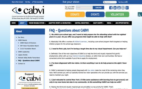 Screenshot of FAQ Page cabvi.org - Frequently asked Questions | Central Association for the Blind and Visually Impaired - captured July 20, 2017