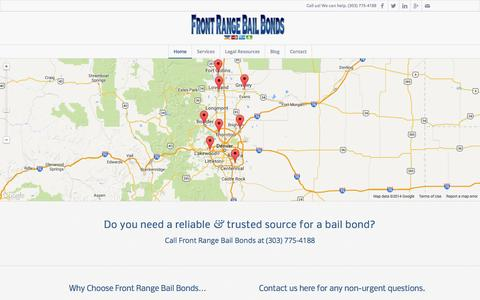 Screenshot of Home Page frontrangebb.com - Home - Front Range Bail Bonds - captured Oct. 6, 2014