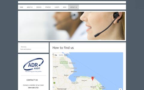 Screenshot of Maps & Directions Page adr-audit.com - ADR Audit - The UK's leading profit recovery company - Directions - captured May 28, 2017