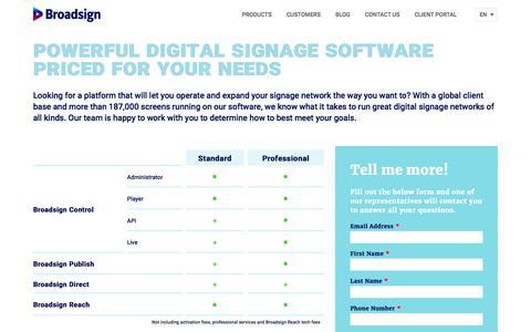 Screenshot of Pricing Page broadsign.com - Digital Signage Software Pricing | Broadsign - captured Aug. 9, 2019