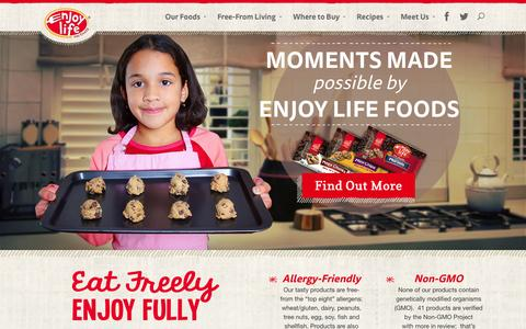 Screenshot of Home Page enjoylifefoods.com - Enjoy Life Foods | Eat freely - captured Sept. 19, 2014
