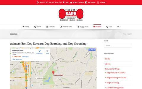 Screenshot of Maps & Directions Page piedmontbark.com - Piedmont BARK   –  Location - captured July 13, 2016